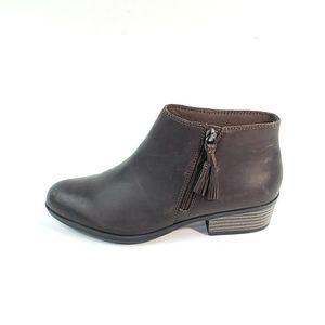 Clarks Ankle Booties Tassel Zip Block Heel Leather